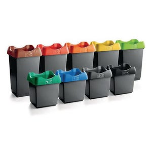 Colour coded open top recycling bins