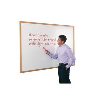 Eco-friendly whiteboard - Light oak effect frame