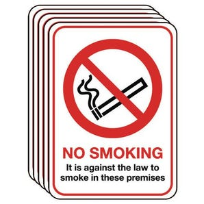 A5 No smoking sign - multi-pack of 5