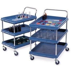 Deep ledge trolleys  - blue shelves with Microban® protection