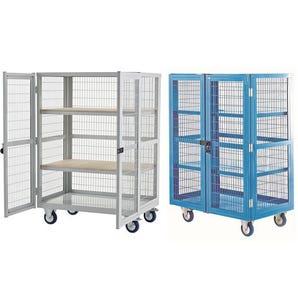 Mesh sided shelf trucks, with doors