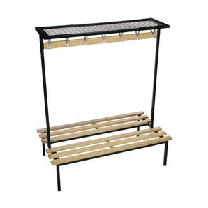 Evolve Duo cloakroom bench with mesh top shelf