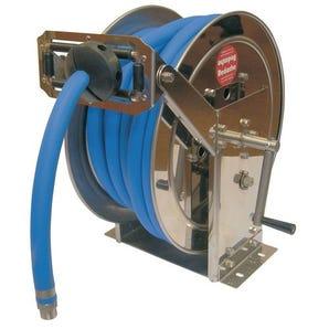 Stainless steel rewind hose reels for air/water/oil/diesel - reel only no hose