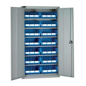 Full-height storage bin cupboards - 6 shelves, 14 bins