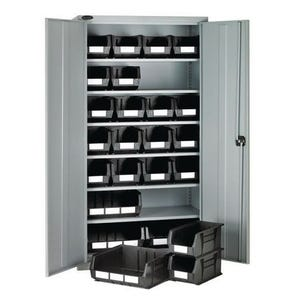 Full-height storage bin cupboards - 6 shelves, 24 bins