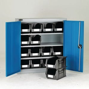 Half-height storage bin cupboards - 3 shelves, 16 bins