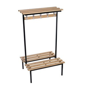 Evolve Duo cloakroom bench with wood top self