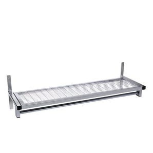 Evolve wall mounted mesh cloakroom shelf with rail