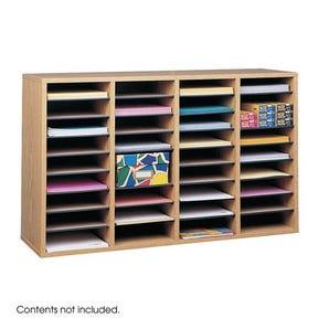 Wood literature organiser with adjustable shelves