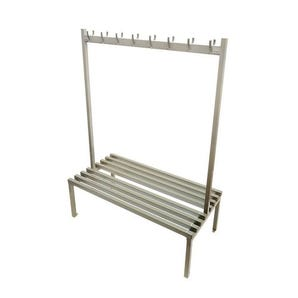 Steel double-sided cloakroom bench