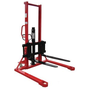 1000kg Manual straddle pallet stackers - adjustable forks