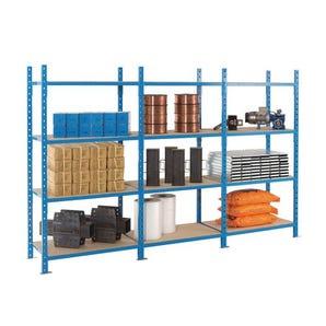 Heavy duty tubular shelving, 4 shelf add-on bays with covers