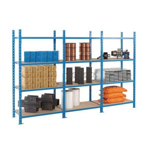 Heavy duty tubular shelving, 4 shelf starter bays with covers