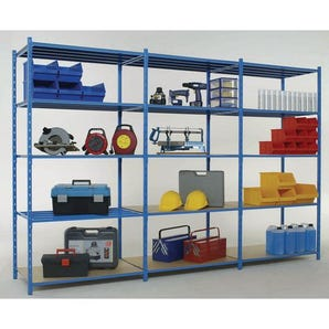 2500mm high Heavy duty tubular shelving with chipboard covers, add-on bays with shelf covers
