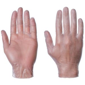 Powder free clear vinyl gloves