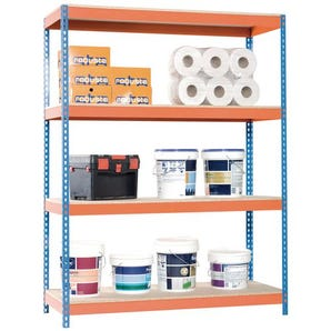 Heavy duty steel boltless shelving, with chipboard shelves
