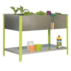 Raised garden planters with shelf