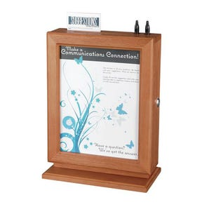 Wood suggestion box with display