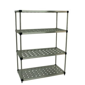 Perforated stainless steel shelving