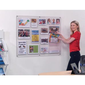 Clear wall mounted poster notice board