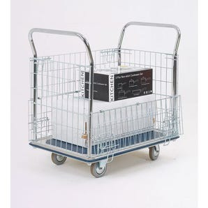 Platform truck with chrome mesh panel sides and ends.