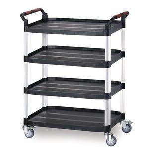 Four tier plastic utility tray trolleys