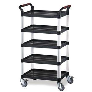 Five tier plastic utility tray trolleys
