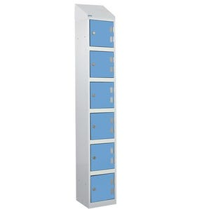 Wet area laminate door lockers with sloping top