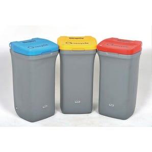 Colour coded recycling wheelie bin.