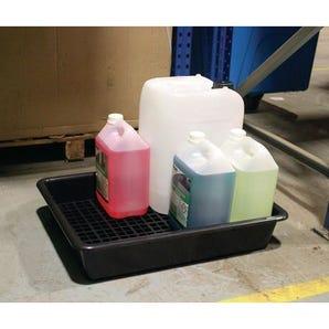 Drum storage trays with base grid