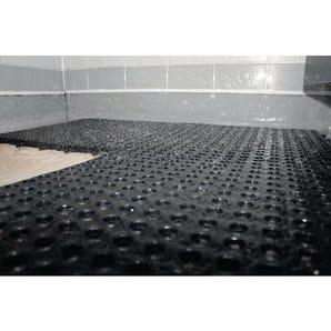 Recycled interlocking wet area floor tiles