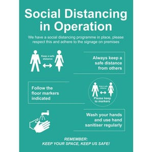 Social distancing in operation 1m sign