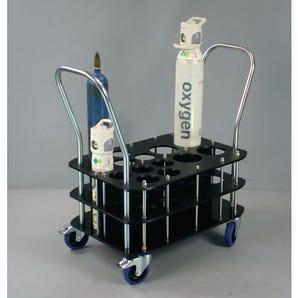 Oxygen cylinder trolleys for 100mm & 140mm dia. bottles