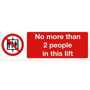 No more than 2 people in this lift safety prohibition sign