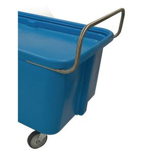 Handles for self-levelling plastic container truck