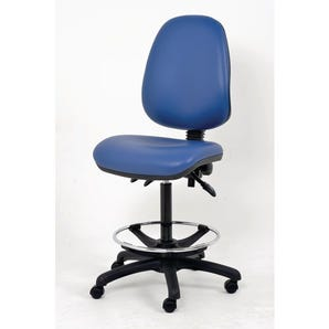 Fully ergonomic office chair with antibacterial vinyl and lock loaded castors