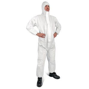 Protective white disposable CE coveralls - type 5 & 6