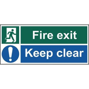 Fire exit keep clear - pack of 5