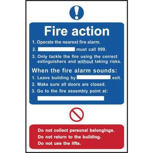 Fire action notice for buildings with lifts