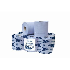 Centre feed 2-ply paper rolls - blue / white