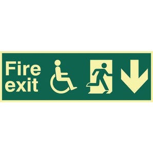 Disabled Fire Exit Man Running Arrow Down Sign
