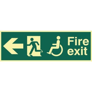 Disabled Fire Exit Man Running Arrow Left Sign