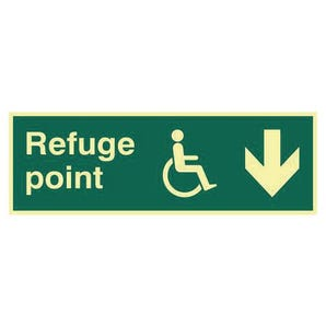 Refuge Point Arrow Down Sign