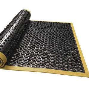 Slip-resistant nitrile rubber workstation safety mats