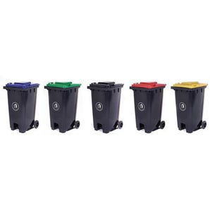 Pedal operated wheeliebin with coloured lid