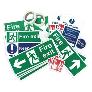 Glow in the dark fire safety signage pack