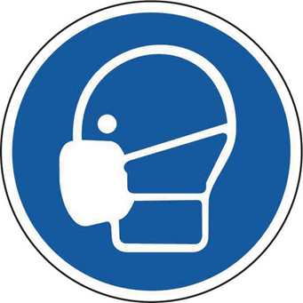A sign encouraging people to wear face masks
