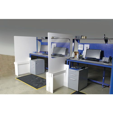 A set of workstation protection dividers available from Slingsby