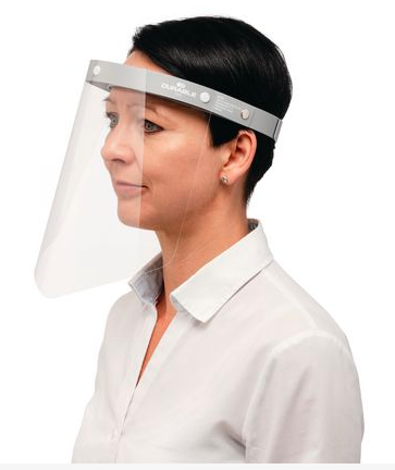 A woman wearing a safety visor