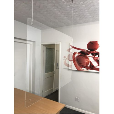 A hanging perspex protection screen from Slingsby